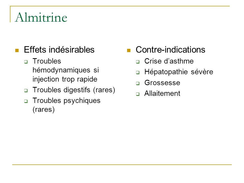 Almitrine Effets indésirables Contre-indications