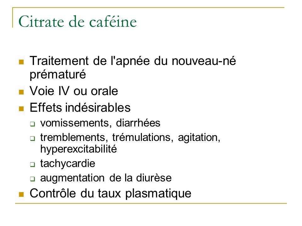 Citrate de caféine Traitement de l apnée du nouveau-né prématuré
