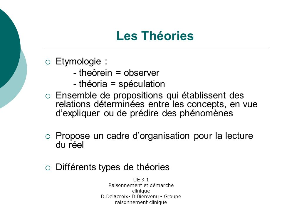 Les Théories Etymologie : - theôrein = observer