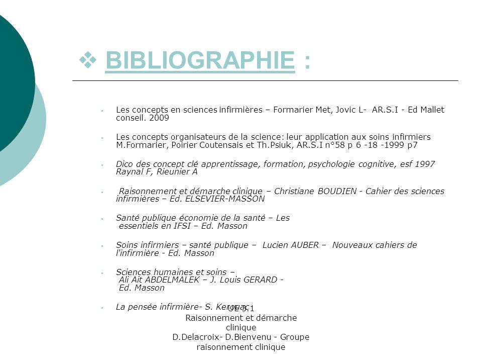  BIBLIOGRAPHIE : Les concepts en sciences infirmières – Formarier Met, Jovic L- AR.S.I - Ed Mallet conseil. 2009.