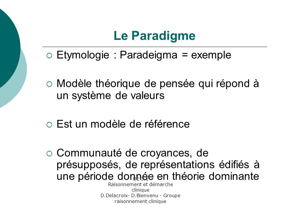 Le Paradigme Etymologie : Paradeigma = exemple