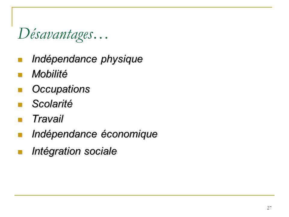 Désavantages… Indépendance physique Mobilité Occupations Scolarité