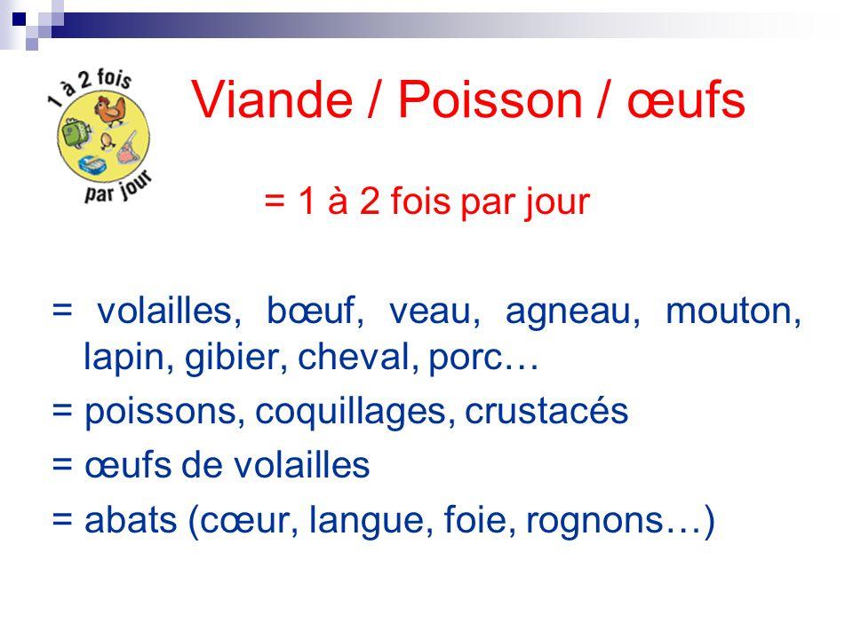 Viande / Poisson / œufs