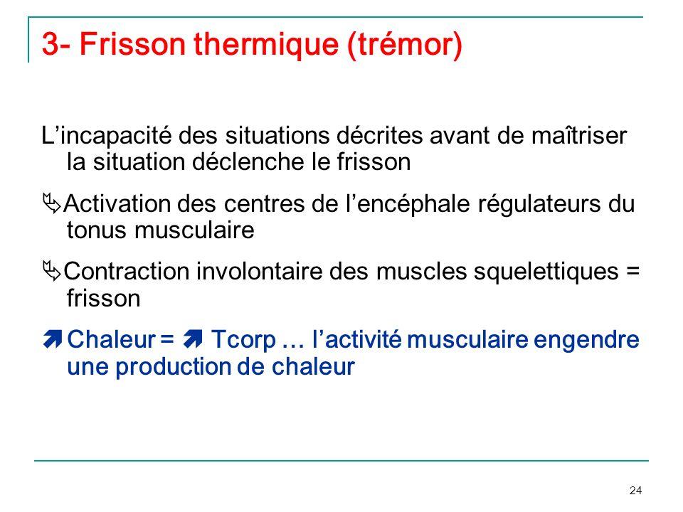 3- Frisson thermique (trémor)