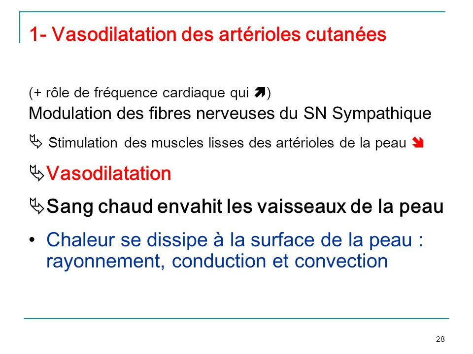1- Vasodilatation des artérioles cutanées