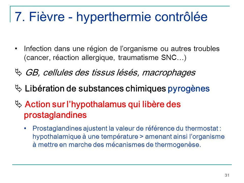 7. Fièvre - hyperthermie contrôlée
