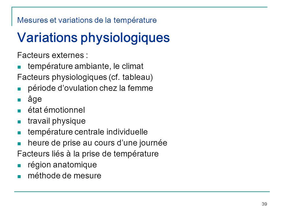 Mesures et variations de la température Variations physiologiques