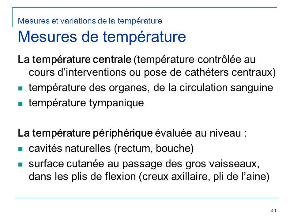 Mesures et variations de la température Mesures de température