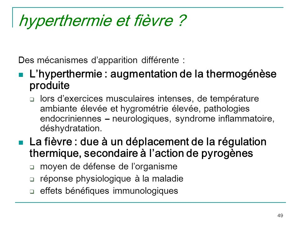 hyperthermie et fièvre