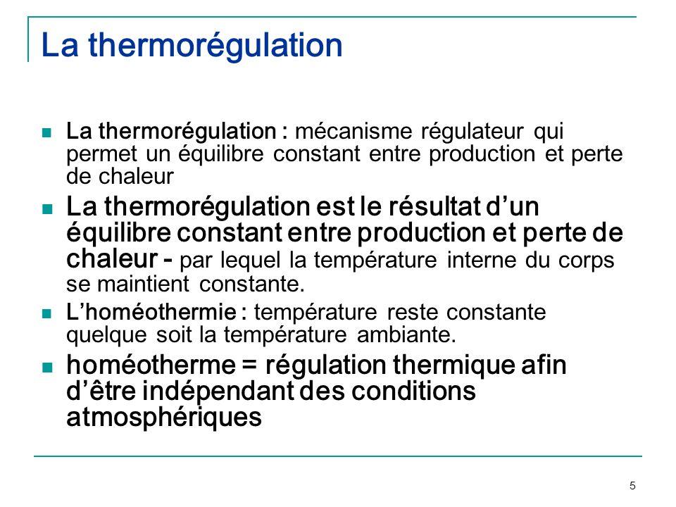 La thermorégulationLa thermorégulation : mécanisme régulateur qui permet un équilibre constant entre production et perte de chaleur.