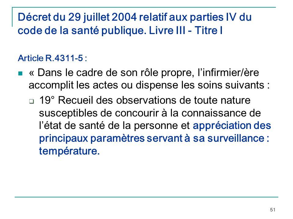 Décret du 29 juillet 2004 relatif aux parties IV du code de la santé publique. Livre III - Titre I