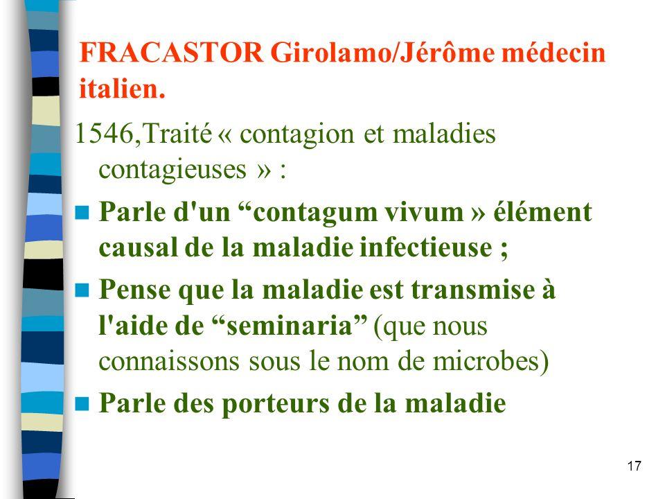 FRACASTOR Girolamo/Jérôme médecin italien.