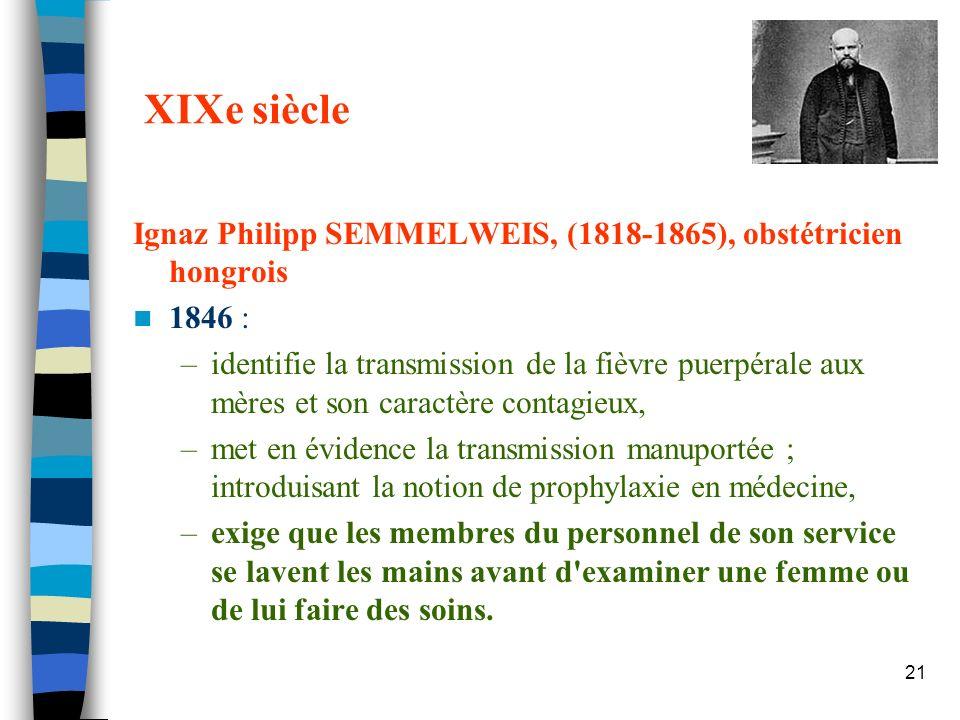 XIXe siècle Ignaz Philipp SEMMELWEIS, (1818-1865), obstétricien hongrois. 1846 :