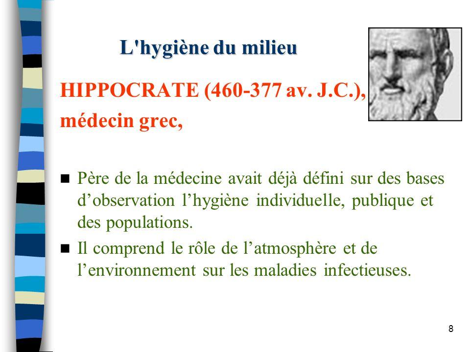 L hygiène du milieu HIPPOCRATE (460-377 av. J.C.), médecin grec,