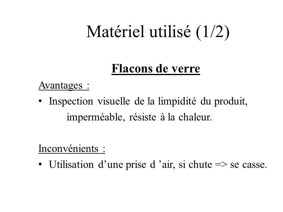 Matériel utilisé (1/2) Flacons de verre Avantages :