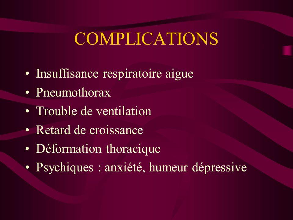 COMPLICATIONS Insuffisance respiratoire aigue Pneumothorax