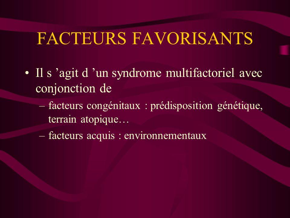 FACTEURS FAVORISANTS Il s 'agit d 'un syndrome multifactoriel avec conjonction de.