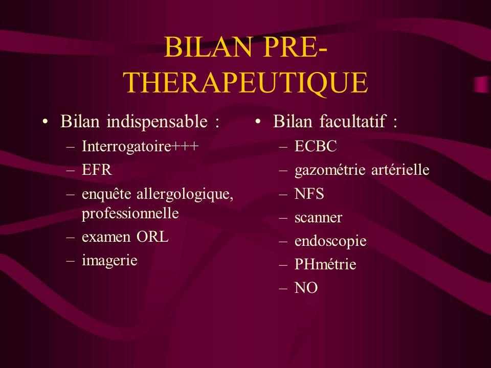 BILAN PRE-THERAPEUTIQUE