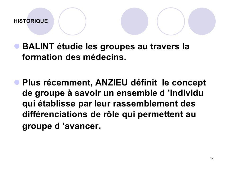 BALINT étudie les groupes au travers la formation des médecins.