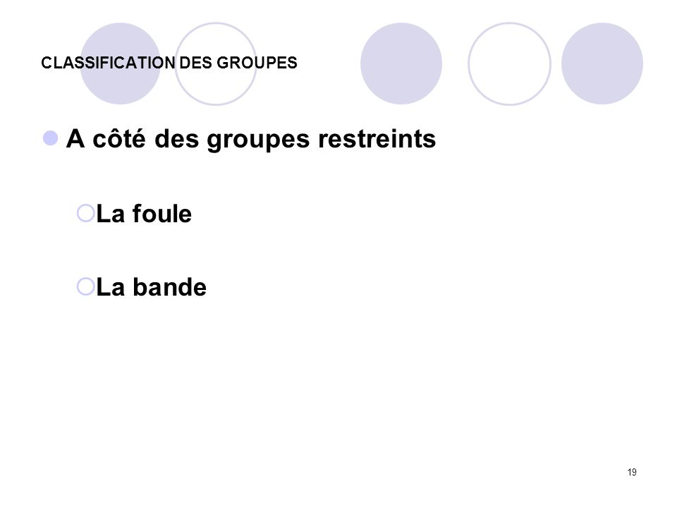 CLASSIFICATION DES GROUPES