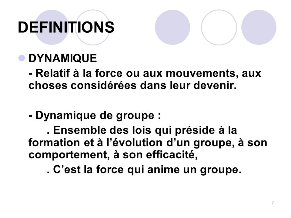 DEFINITIONS DYNAMIQUE