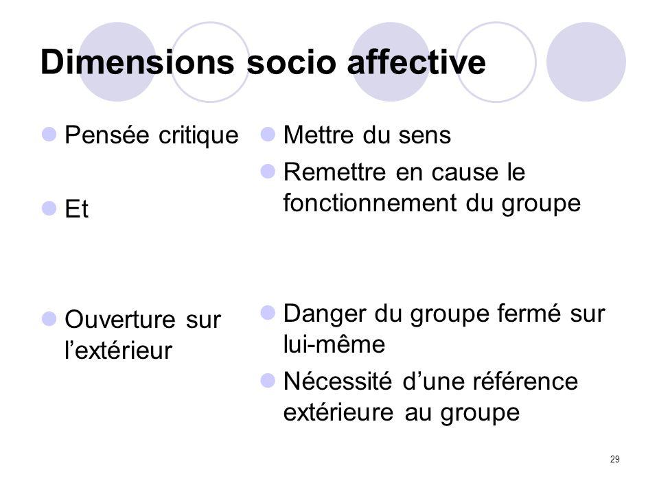 Dimensions socio affective