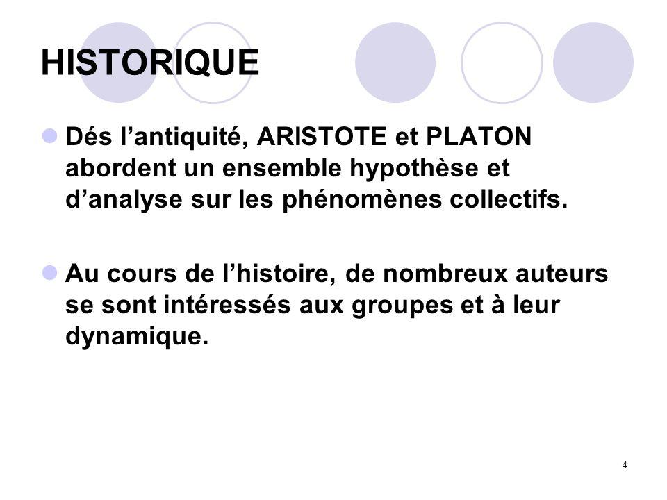 HISTORIQUE Dés l'antiquité, ARISTOTE et PLATON abordent un ensemble hypothèse et d'analyse sur les phénomènes collectifs.