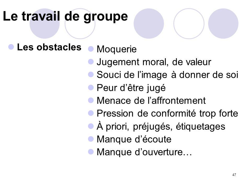 Le travail de groupe Les obstacles Moquerie Jugement moral, de valeur