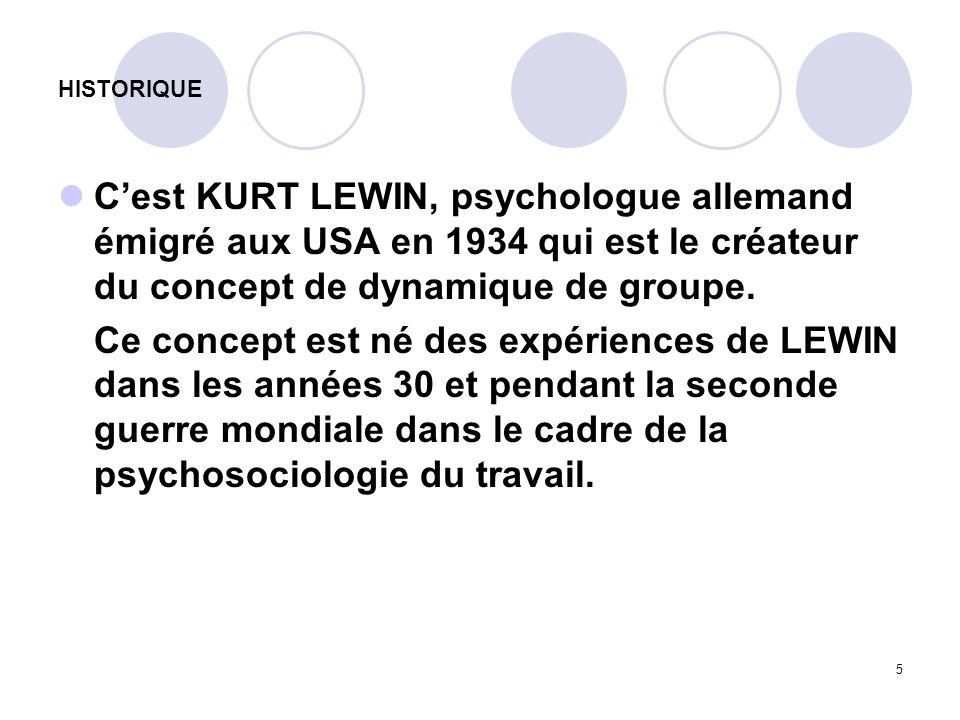 HISTORIQUE C'est KURT LEWIN, psychologue allemand émigré aux USA en 1934 qui est le créateur du concept de dynamique de groupe.