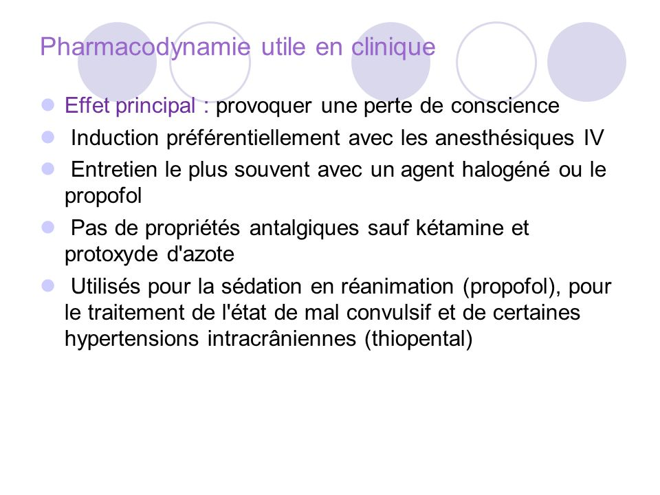 Pharmacodynamie utile en clinique