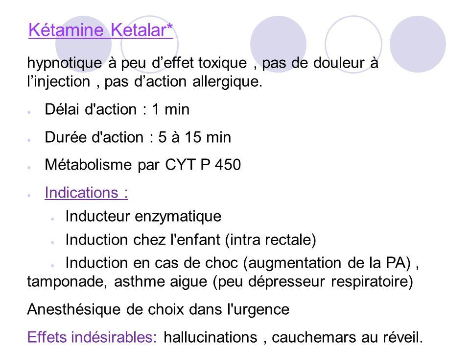 Kétamine Ketalar* hypnotique à peu d'effet toxique , pas de douleur à