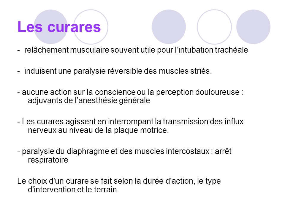 Les curares - relâchement musculaire souvent utile pour l'intubation trachéale. - induisent une paralysie réversible des muscles striés.