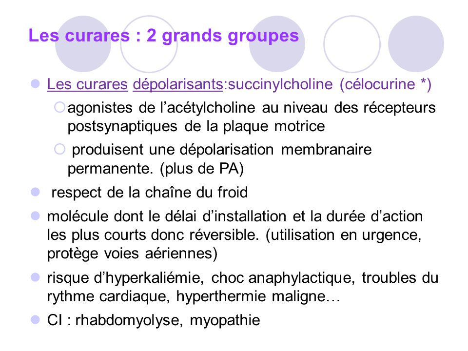 Les curares : 2 grands groupes
