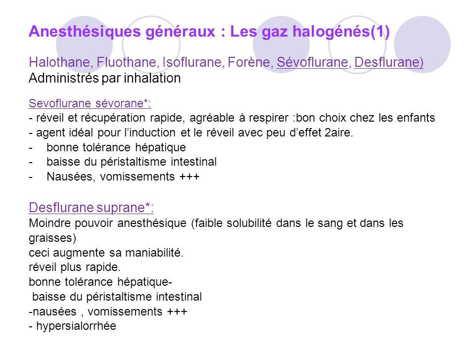 Anesthésiques généraux : Les gaz halogénés(1)