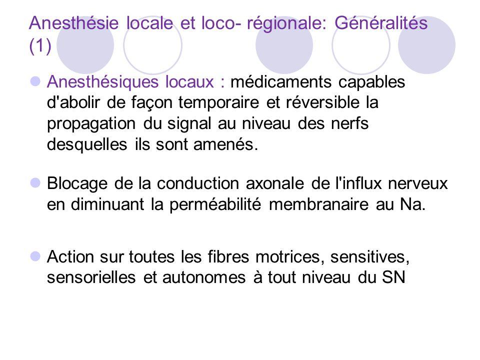 Anesthésie locale et loco- régionale: Généralités (1)