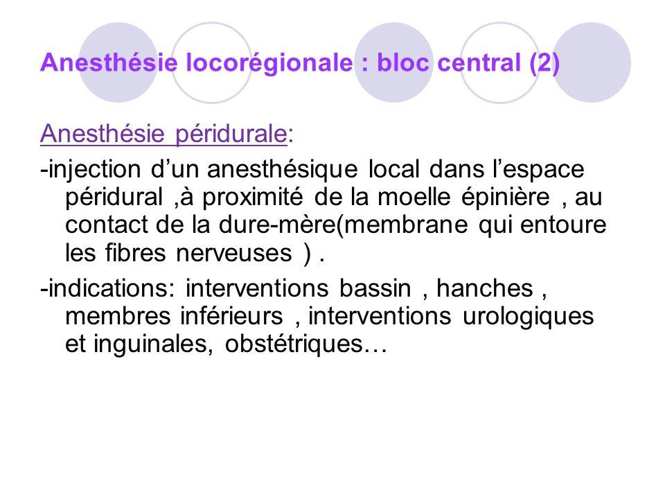 Anesthésie locorégionale : bloc central (2)