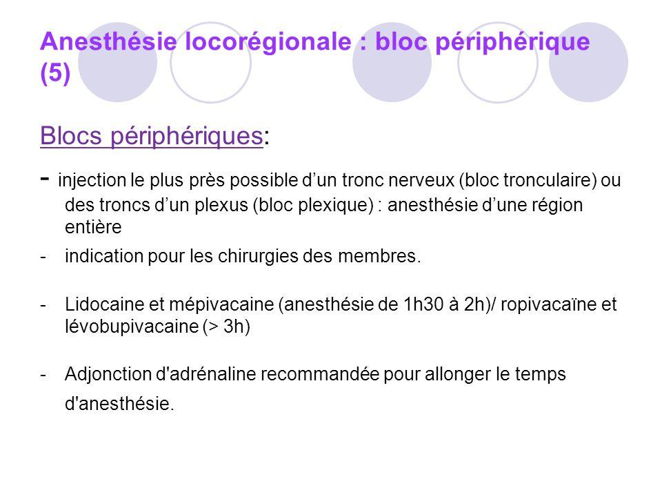 Anesthésie locorégionale : bloc périphérique (5)