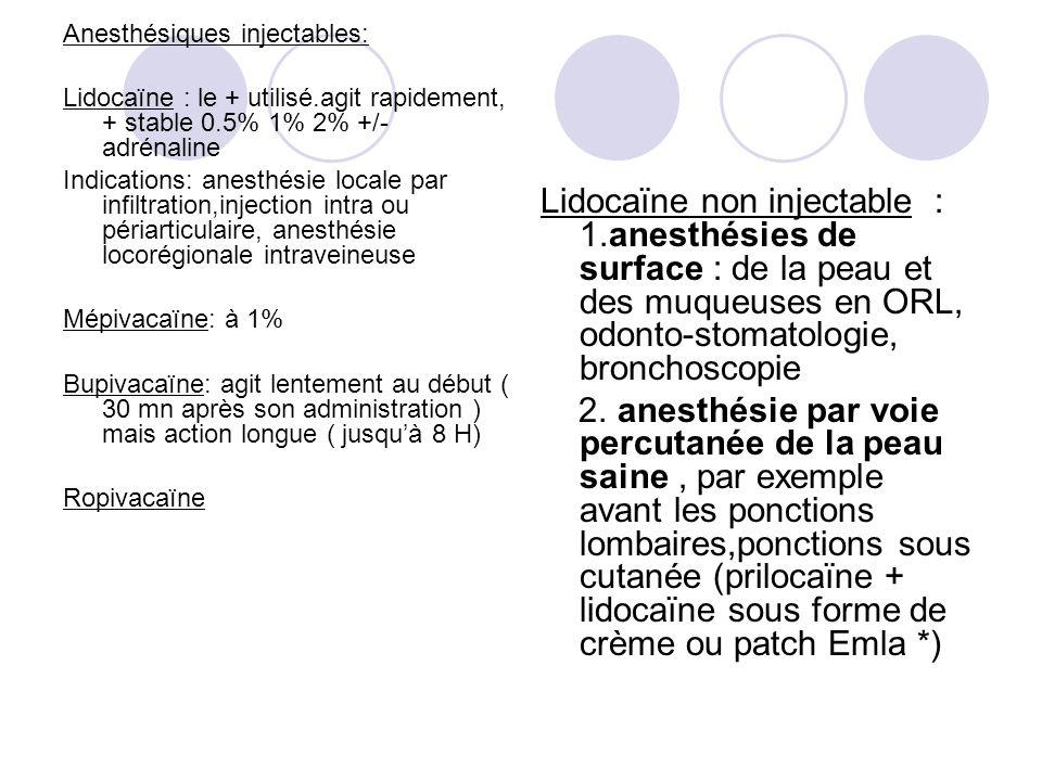 Anesthésiques injectables: