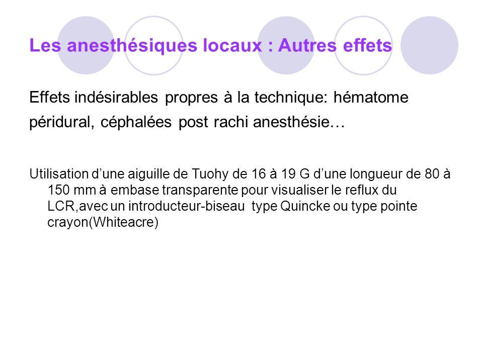 Les anesthésiques locaux : Autres effets