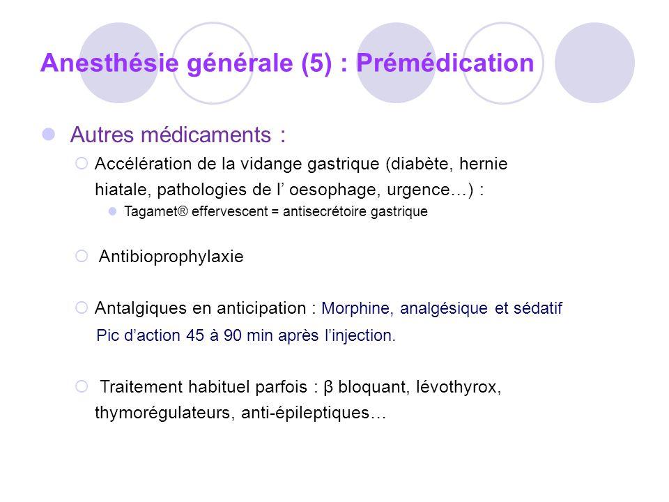 Anesthésie générale (5) : Prémédication