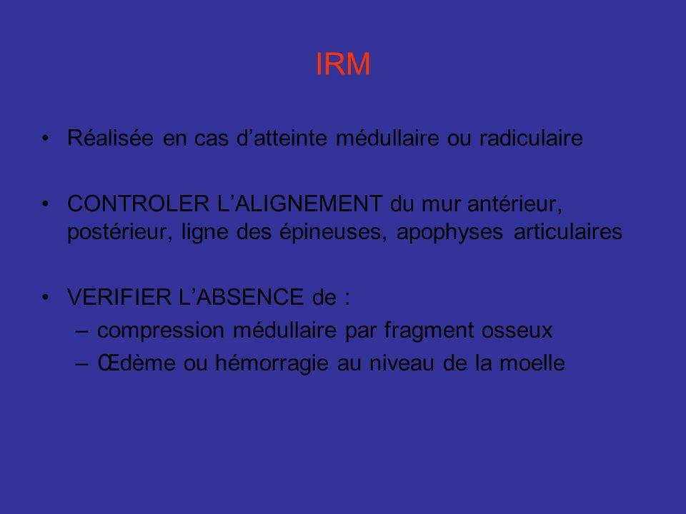 IRM Réalisée en cas d'atteinte médullaire ou radiculaire