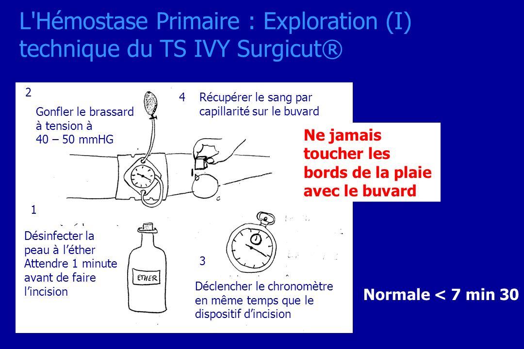 L Hémostase Primaire : Exploration (I) technique du TS IVY Surgicut®