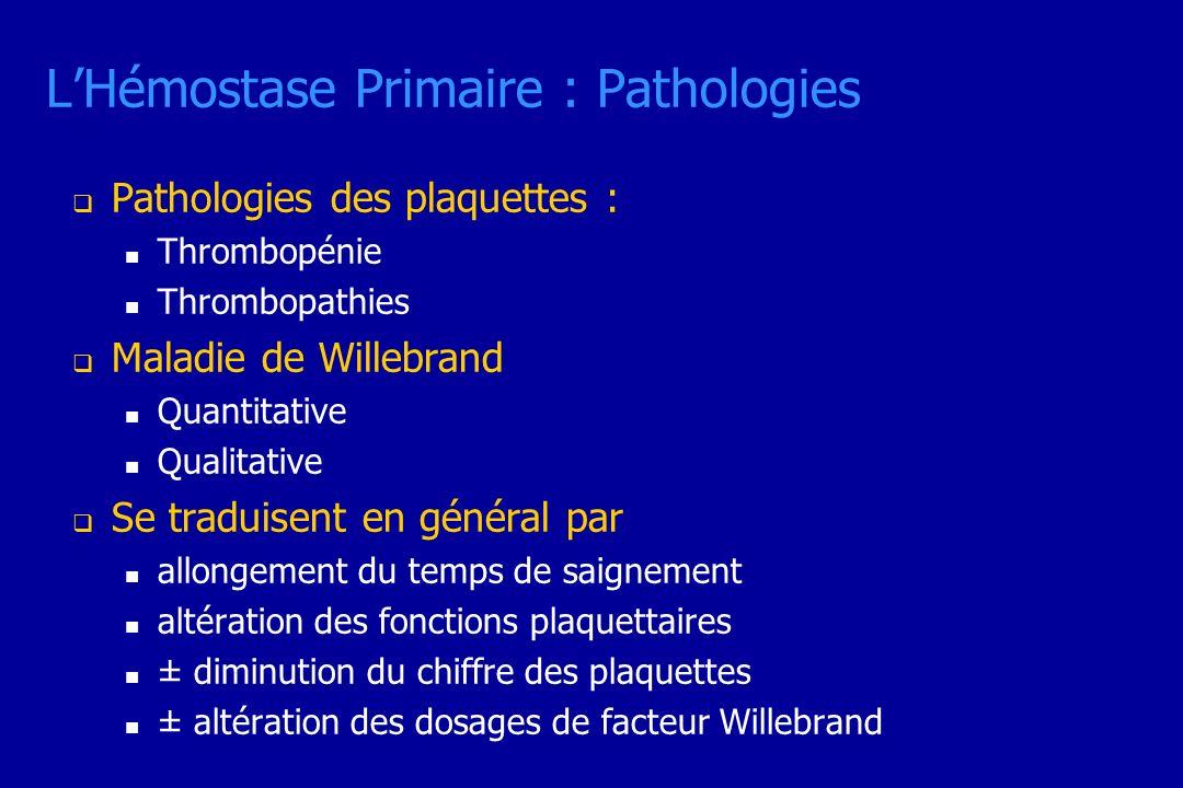 L'Hémostase Primaire : Pathologies
