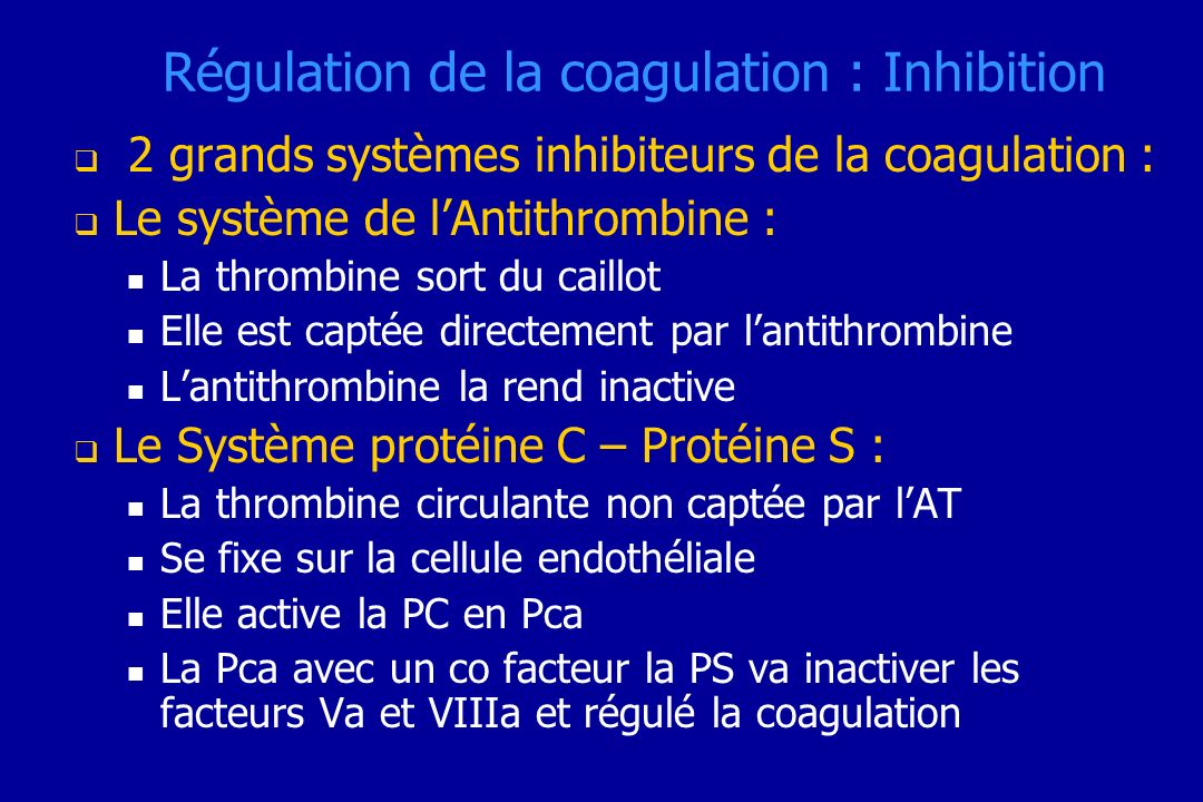 Régulation de la coagulation : Inhibition