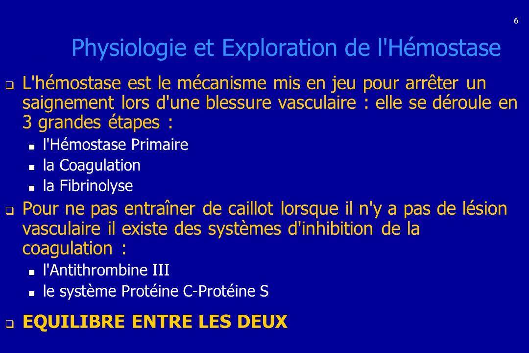 Physiologie et Exploration de l Hémostase