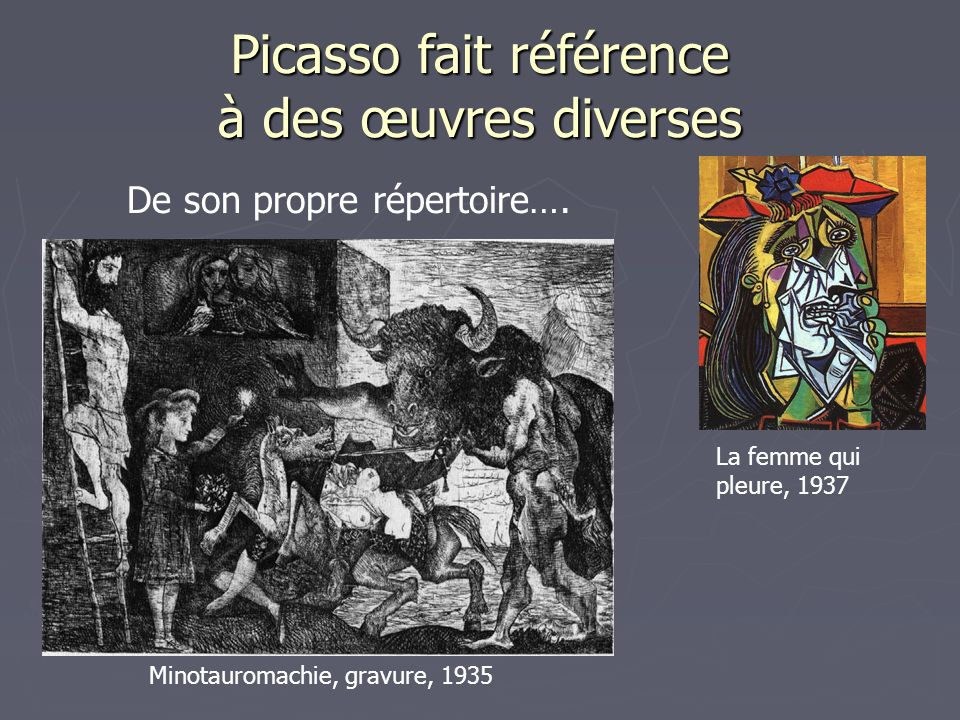 Picasso fait référence à des œuvres diverses