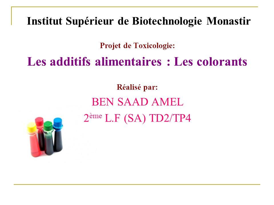 Institut Supérieur de Biotechnologie Monastir Projet de Toxicologie: