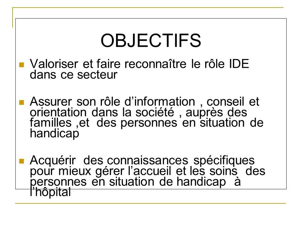 OBJECTIFS Valoriser et faire reconnaître le rôle IDE dans ce secteur