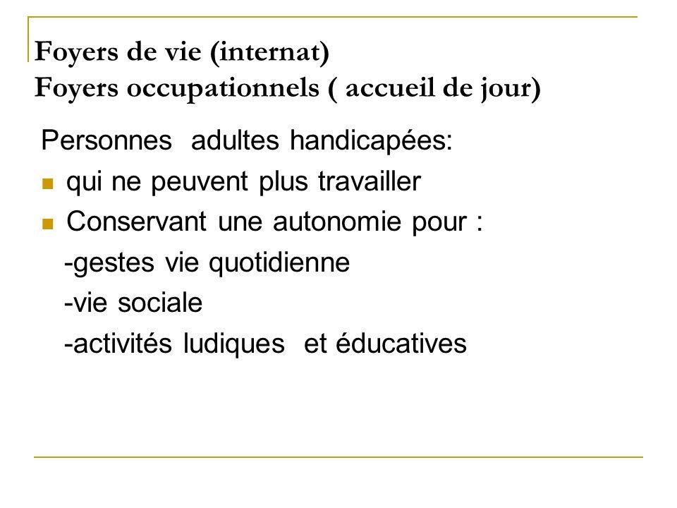 Foyers de vie (internat) Foyers occupationnels ( accueil de jour)