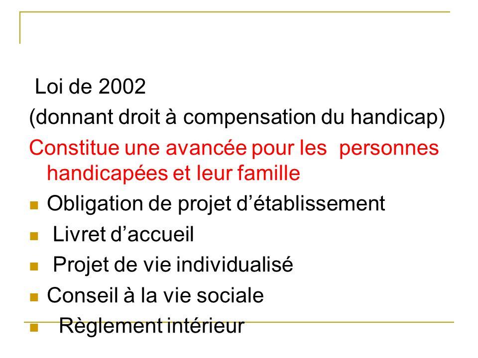 Loi de 2002 (donnant droit à compensation du handicap) Constitue une avancée pour les personnes handicapées et leur famille.